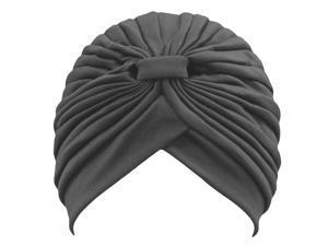 Black Classy Polyester Turban Hat Head Cover Sun Cap