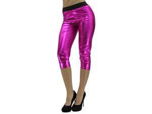 Fuchsia Metallic Foil Capri Style Stretchy Leggings