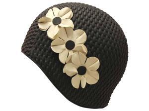 Black & White Latex Swim Bathing Cap With Flowers