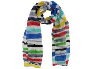 Red Blue Green Yellow Striped Crinkle Scarf