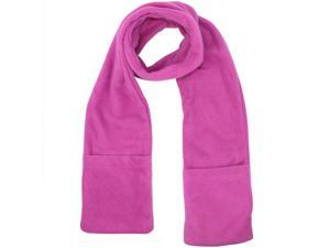 Pink Heated Fleece Unisex Winter Scarf With Pockets