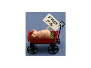Dollhouse PIG IN RED WAGON