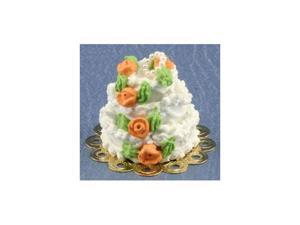 Dollhouse 3 Tier Peach Roses Wedding Cake