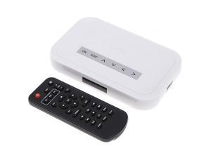 White NBOX Media Flash HDD HD TV USB SD Card Player RMVB MP3 AVI MPEG Divx