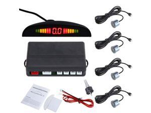 Car LED Parking Reverse Backup Radar System with Backlight Display + 4 Sensors Grey