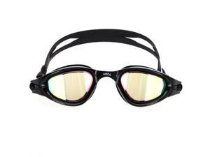Anti-fog UV Protection Silicone Swim Glasses  Mirror Coated Swimming Goggles PC Lens Black