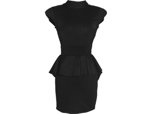 Peplum Cutout Colorblock Dress