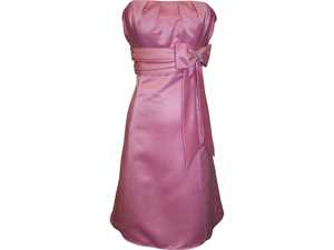 50's Style Speghetti Straped Satin Prom Dress With Bow