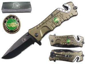 "Falcon 3 1/4"" Blade Folding knife. Green handle with tank logo"