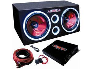 Dual 10 Subs Car Amplifier Amp Kit Sub Box Car Audio Bass Enclosure