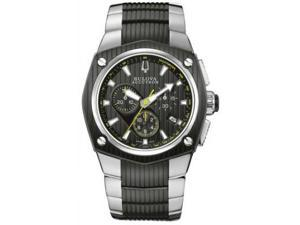 Bulova Accutron Corvara Black Dial Chronograph Two Tone Steel Mens Watch 65B123