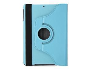 KIQ Light Blue 360 Rotating Folio PU Leather Stand Case Cover for Apple Ipad Mini