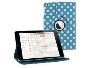 LIGHT BLUE Polka Dots 360 Rotating PU Leather Case Cover Stand for Apple iPad Mini