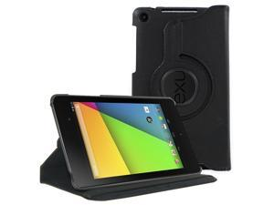 KIQ (TM) Black 360 Rotating Leather Case Pouch Cover Skin Stand for Google Nexus 7 2nd Second Gen Generation