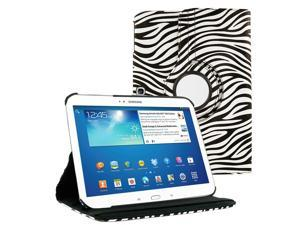 "KIQ (TM) Zebra 360 Degree Rotating Leather Case Skin Cover Stand for Samsung Galaxy Tab 4 10.1"" T530"