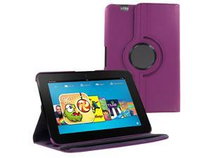 KIQ (TM) Purple 360 Rotating Leather Case Pouch Cover Skin Stand for Kindle Fire 8.9 HD