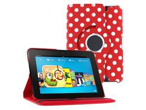 KIQ (TM) Polka Dots Red 360 Rotating Leather Case Pouch Cover Skin Stand for Kindle Fire HD 7""