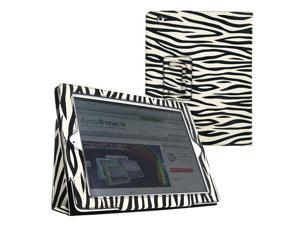 KIQ (TM) Zebra Design Portfolio Leather Case Pouch Cover Skin Stand for Apple iPad Mini