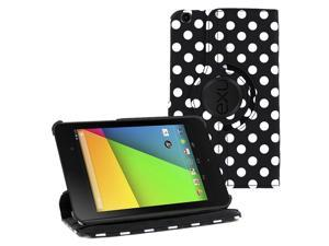 "KIQ (TM) Polka Dots Black 360 Rotating Leather Case Cover Skin Stand for Nexus 7"" 2nd Gen"