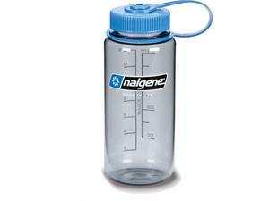 Nalgene Tritan Wide Mouth Bottle, 1 Pt. Gray with Blue Lid