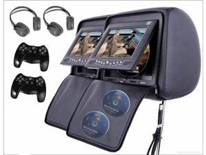 "Esky Headrest 7"" LCD Car Monitors with Region Free DVD player USB SD Inc. Wireless Headhones and 32 Bit Games (Black, Pair)"
