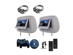 Hisgadget 2x 7 Inch Car Headrest DVD Player Radio TV Monitor Headphones Game Handles Gray