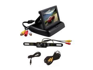 "Esky® 4.3"" Foldable TFT LCD Monitor Backup Reverse Monitor Night Vision + Universal Car Rear View Camera System"
