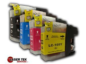 Brother LC107 and LC105 4-Set Compatible Super High Yield Ink Cartridges (1BK, 1C, 1M, 1Y) MFC-J4310DW MFC-J4410DW