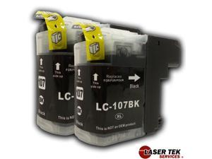 Brother LC107BK (LC-107BK) 2 Black Compatible Super High Yield Ink Cartridges MFC-J4310DW MFC-J4410DW MFC-J4510DW