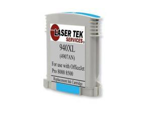 Laser Tek Services® HP C4907AN (940XL) Cyan Replacement Ink Cartridge for the HP OfficeJet Pro 8000, 8500