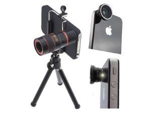 4 in 1 Fisheye + Wide Angle + Micro Macro + 8x Telescope Lens for iPhone 4 4G 4S