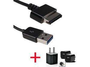 2M USB Sync Data Charger Cable +USB AC Home Wall Charger for ASUS EeePad Transformer TF101 TF201 Slider SL101