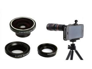 4 in 1 8x Telephoto + 180° Fish Eye + Wide Angle + Micro Macro Lens Kit Tripod Case for iPhone 4 4S 5 6