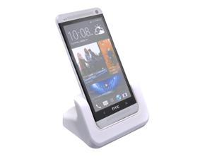 Case Compatible USB Desktop Dock Cradle Charger White for HTC One M7