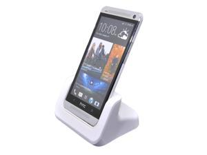 Desktop Phone Sync Dock Cradle Mount Holder Charger for HTC ONE M7 Fit Phone With or Without Case - White