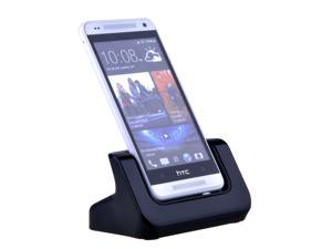 Desktop Dock Charger Cradle for HTC One Mini Black - Case Adaptor Fit Phone with or without a Slim Case