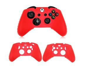 2x Protective Red Soft Silicone Gel Rubber Case Skin Grip Cover for Microsoft Xbox One controller