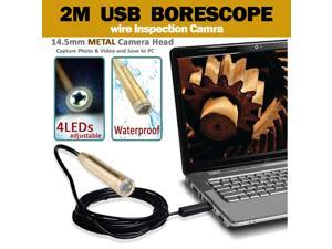 2 Meters Tube Camera USB Waterproof Borescope Endoscope Inspection Snake New 2/5/7/10M