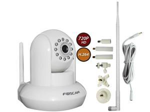 Foscam FI9821W V2 1-Pack (White) with Heavy Duty 7-Piece Adjustable Bracket, 9dbi Antenna Booster and 10ft Power Extension