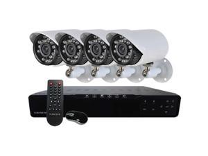 HQ-Cam Complete 4 Channel Security Surveillance Network DVR Kit with 4 Infrared Weatherproof 700TV Lines Bullet Cameras & ...