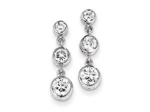 Sterling Silver CZ Bezel Set 3 Stone Dangle Earrings.