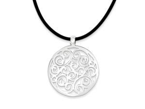 Sterling Silver 18in Round Fancy Pendant Cord Necklace. Metal Wt- 10.22g