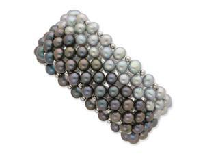 Sterling Silver Black/Grey 6-7mm Freshwater Cult. Potato Pearl Stretch Bracelet