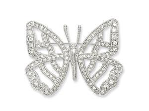 Rhodium-plated CZ Butterfly Pin. Lovely Leatherrete Gift Box Included