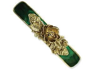 Brass-tone Green Enamel Bar Flower Barrette