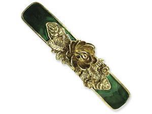 Brass-tone Green Enamel Bar Flower Barrette