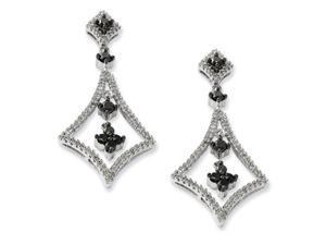 Silver Black and White Diamond Geometric Dangle Post Earrings. Carat Wt- 1.5ct.