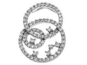 14K White Gold 0.98cttw Round Diamond Pendant
