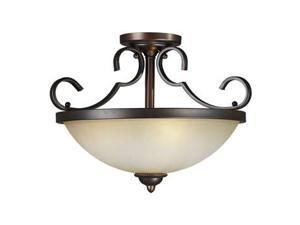 Forte Lighting 3 Light Semi Flush Mount in Antique Bronze - 2365-03-32