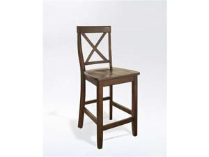 Crosley X-Back Bar Stool in Vintage Mahogany  w/ 24 Inch Seat Height.